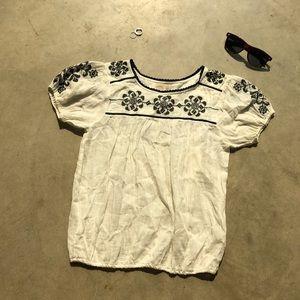 peek white embroidered blouse